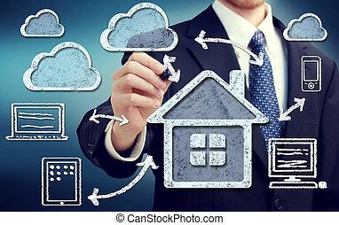maison, concept, nuage, calculer