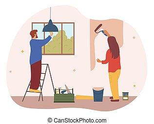 maison, concept, réparation