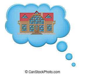 maison, concept, rêve, nuage