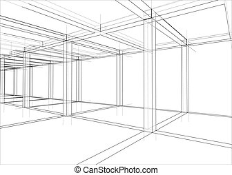 maison, construction., sous, vecteur, dessin