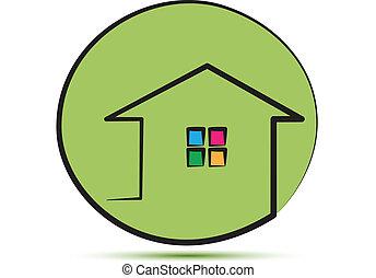 maison, coup, vert, ligne, logo