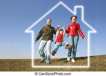 maison, courant, rêve, famille