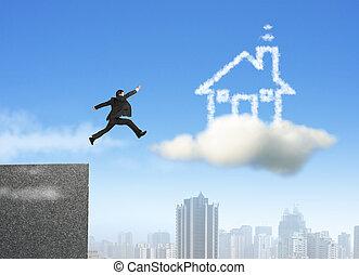 maison, courant, sauter, homme affaires, rêve, nuage