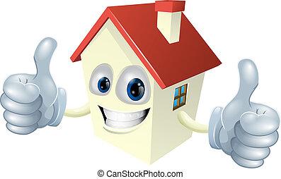 maison, dessin animé, mascotte