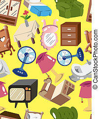 maison, dessin animé, seamless, furnitur, modèle