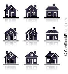 maison, différent, icônes