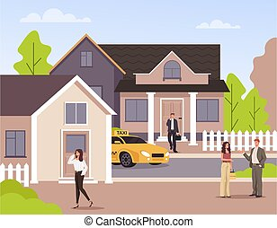 maison, district, concept., graphique, rue, vecteur, plat, conception, en ville, illustration