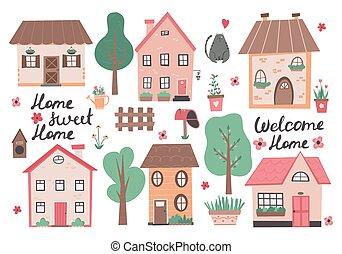 maison, doux, vecteur, illustration, maison, coloré, dessiné, flowers., petite main