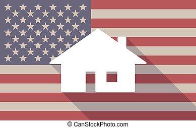 maison, drapeau, usa, icône