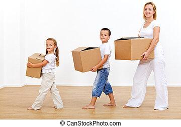 maison, en mouvement, famille, nouveau