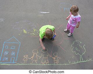 maison, enfants, famille, asphalte, dessin