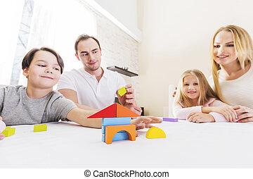 maison, enfants, famille, construire