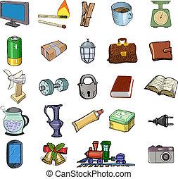 maison, ensemble, apparenté, objets