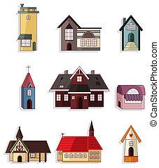 maison, ensemble, dessin animé, icône