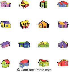 maison, ensemble, dessin animé, icônes