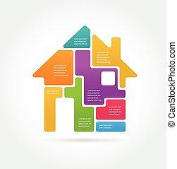 maison, ensemble, -, icône, infographics