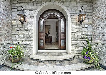 maison, entrée, pierre, arqué, luxe