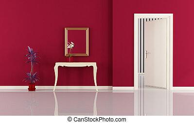 maison, entrée, rouges