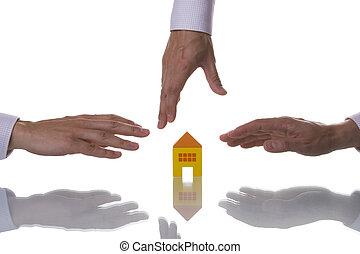maison, essayer, portée, trois, mains
