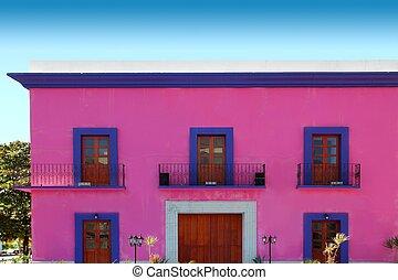 maison, façade, bois, portes, rose, mexicain