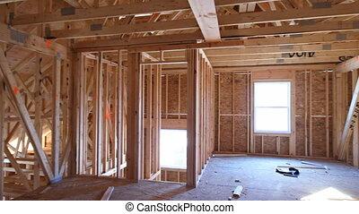 maison, faisceau, construction, encadré