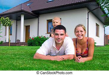 maison, famille, heureux