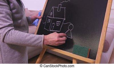 maison, femme, dessin, tableau noir