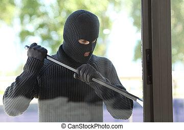 maison, fenêtre, essayer, ouvert, voleur