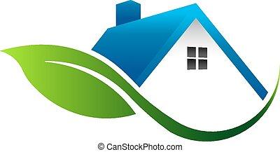 maison, feuille, logo