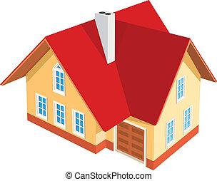 maison, fond blanc, illustration