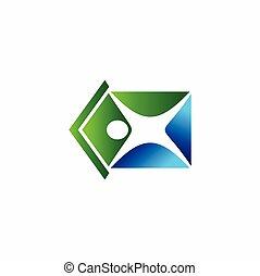 maison, formé, gens, silhouette, logo