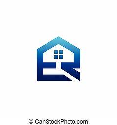 maison, formé, r, lettre e, logo