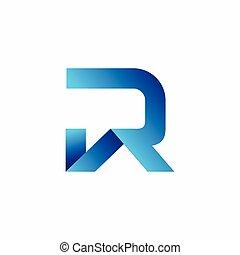 maison, formé, r, lettre, logo