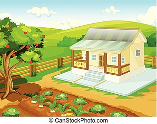 maison, frais, dessin animé, village