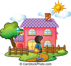 maison, garçon, rose, devant, grand