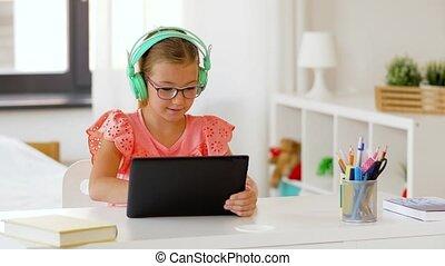 maison, girl, écouteurs, informatique, tablette