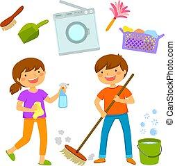 maison, gosses, nettoyage, heureux