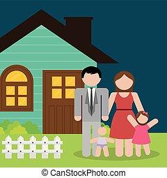 maison, gosses, parents, famille