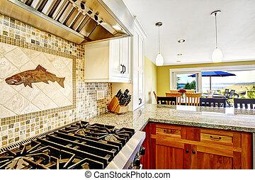 maison, granit, moderne, sommets, interior., salle, cuisine, brillant