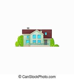 maison, hôtel, petite maison, bâtiment, résidentiel, isolé