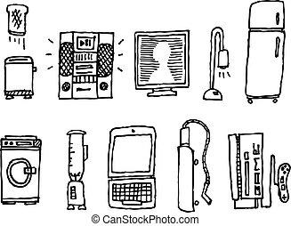 maison, hand-drawn, vecteur, appareils