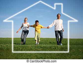 maison, herbe, rêve, famille, sky.