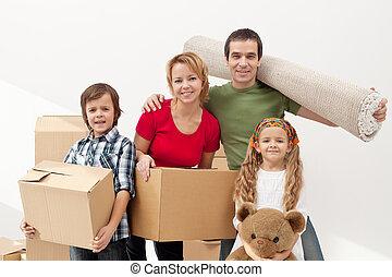 maison, heureux, en mouvement, famille, nouveau