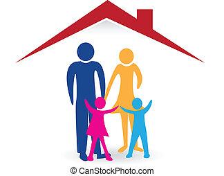 maison, heureux, logo, famille, nouveau
