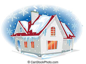 maison, hiver