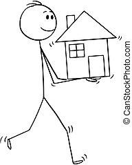 maison, homme, dessin animé, tenant mains