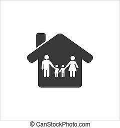 maison, icon., heureux, intérieur, séjour, maison, famille