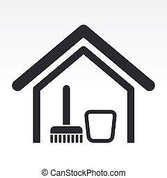 maison, illustration, isolé, unique, icône, vecteur, propre