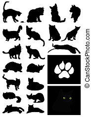 maison, illustration, silhouettes, vecteur, noir, cats.