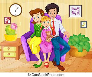 maison, intérieur, famille